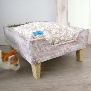 cama para gatos con jardín y rascador